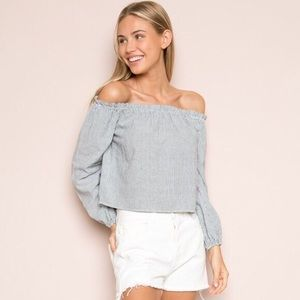 Brandy Melville Off the Shoulder Theia Striped Top